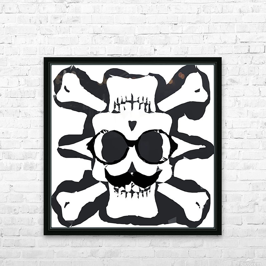 old funny skull and bone art portrait in black and white HD Sublimation Metal print with Decorating Float Frame (BOX)