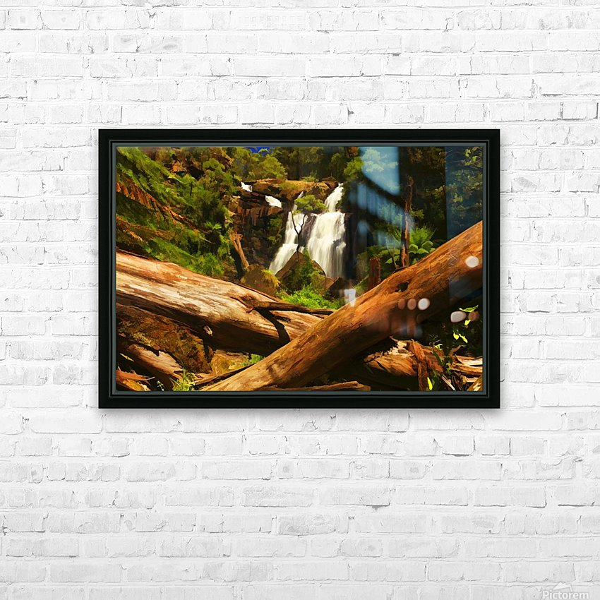 Tree Trees Fallen accross a Stream and Waterfall Digital Painting C010300_1114915 HD Sublimation Metal print with Decorating Float Frame (BOX)
