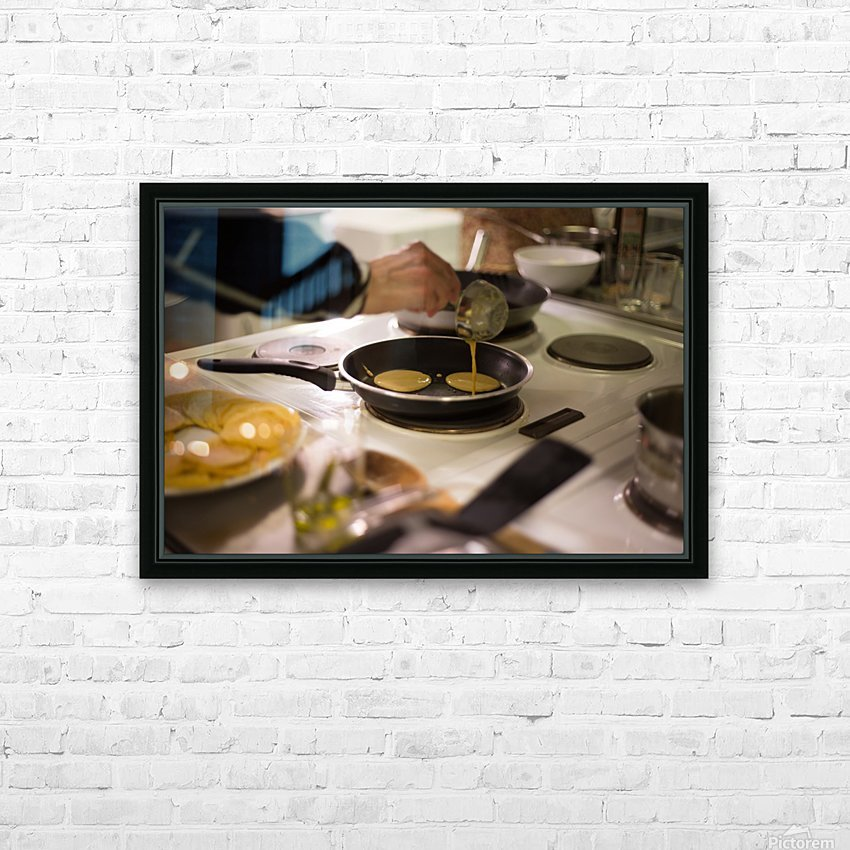 Cooking pancakes in kitchen HD Sublimation Metal print with Decorating Float Frame (BOX)