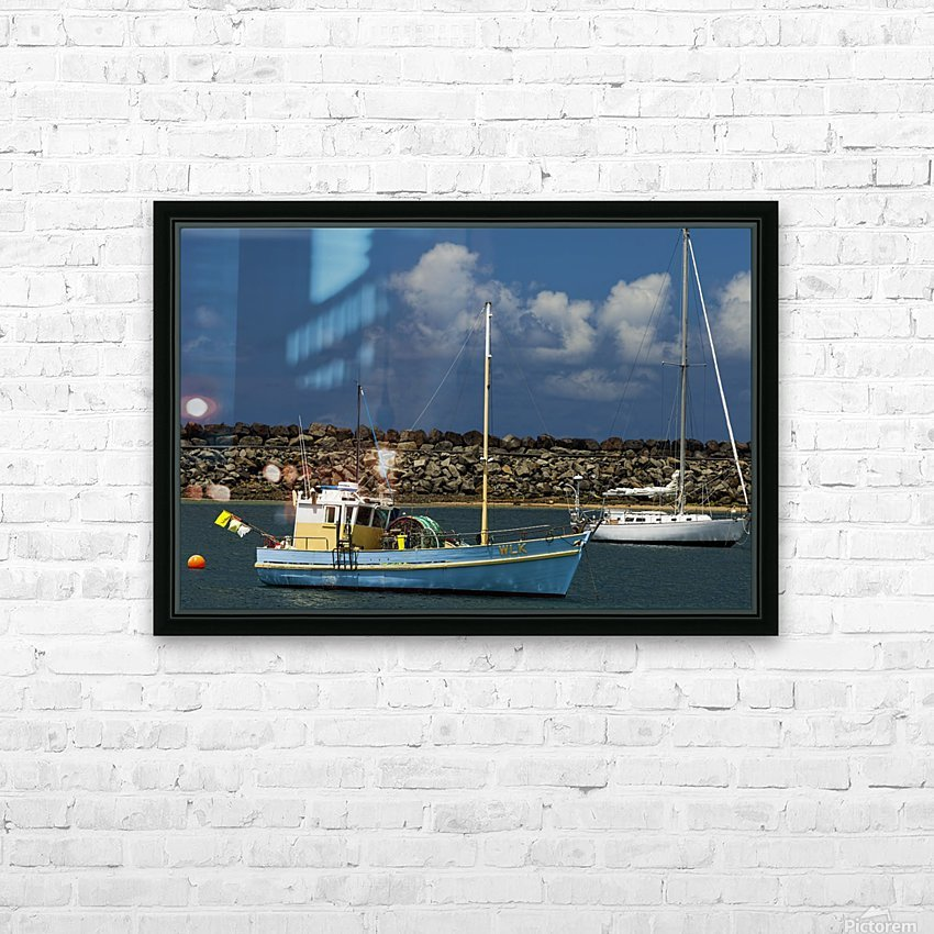 Blue Boat at Apollo Bay 011142609 HD Sublimation Metal print with Decorating Float Frame (BOX)