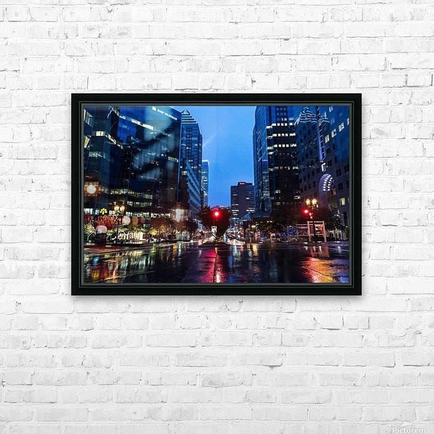 Pluie au centre ville HD Sublimation Metal print with Decorating Float Frame (BOX)