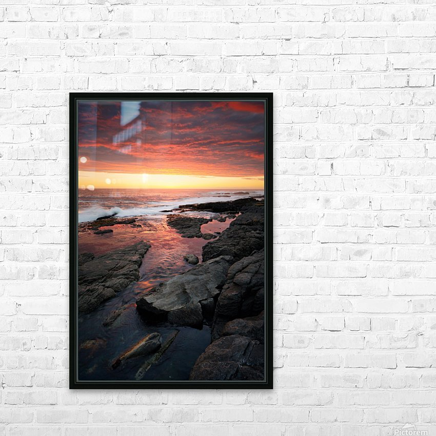 Sunset over rocky coastline HD Sublimation Metal print with Decorating Float Frame (BOX)