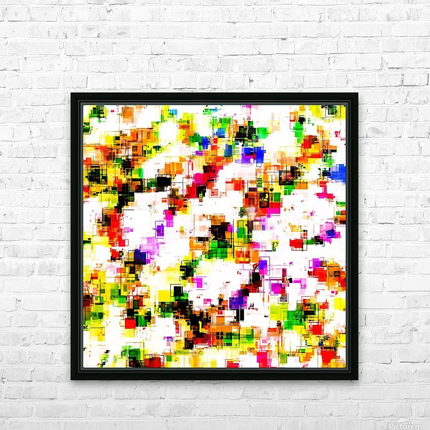 psychedelic geometric square pixel pattern abstract background in green red pink yellow HD Sublimation Metal print with Decorating Float Frame (BOX)