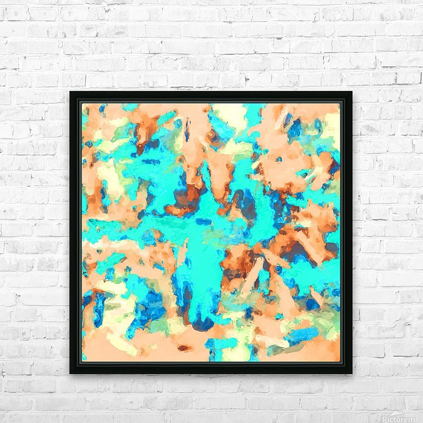 splash painting texture abstract background in blue and orange HD Sublimation Metal print with Decorating Float Frame (BOX)