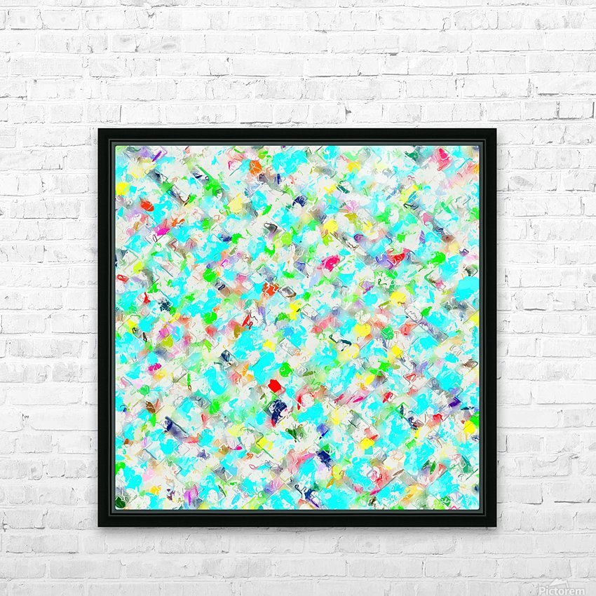 splash painting texture abstract background in blue yellow green red pink HD Sublimation Metal print with Decorating Float Frame (BOX)