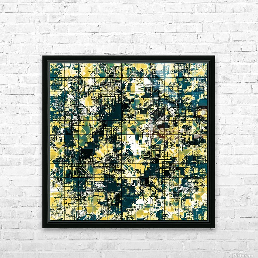 psychedelic geometric square pattern abstract background in green and yellow HD Sublimation Metal print with Decorating Float Frame (BOX)