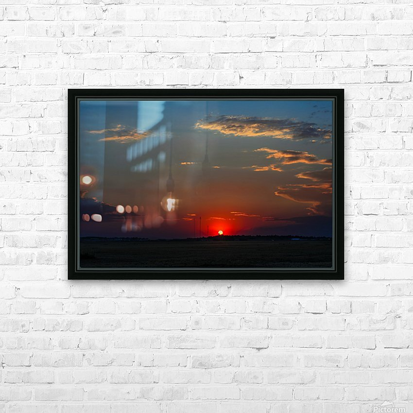 Crimson Red Sunset Over The Hill With A Black Silhouette HD Sublimation Metal print with Decorating Float Frame (BOX)