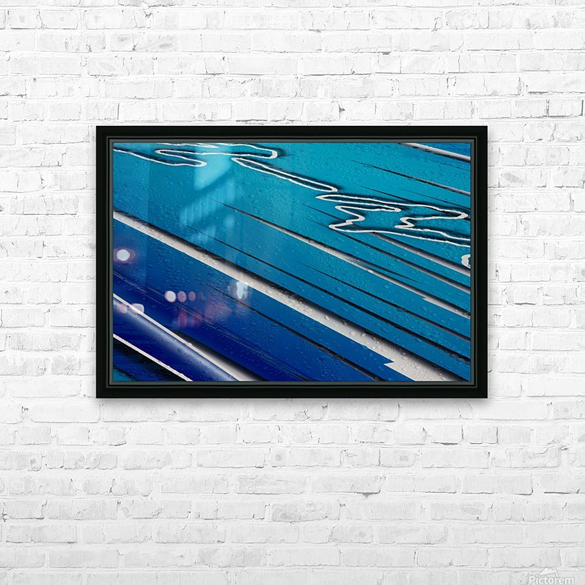 Diagonally Blue HD Sublimation Metal print with Decorating Float Frame (BOX)