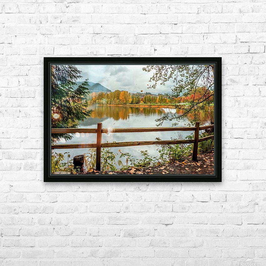 Wooden hedge blocks, falling autumn leaves, the water surface of the pond HD Sublimation Metal print with Decorating Float Frame (BOX)