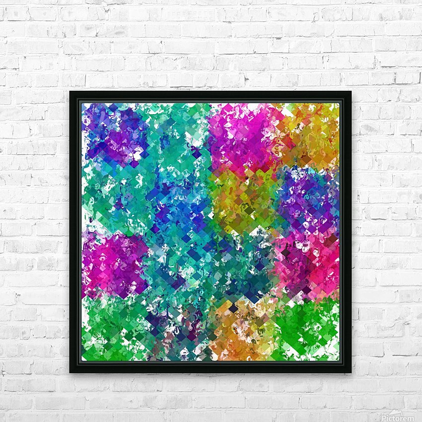psychedelic geometric square pixel pattern abstract background in blue green yellow pink purple HD Sublimation Metal print with Decorating Float Frame (BOX)