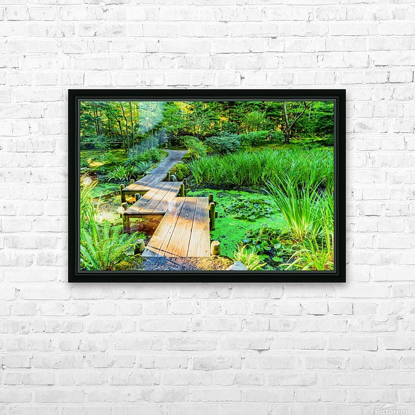 wooden bridge across a pond with duckweed and leaves of water lilies HD Sublimation Metal print with Decorating Float Frame (BOX)