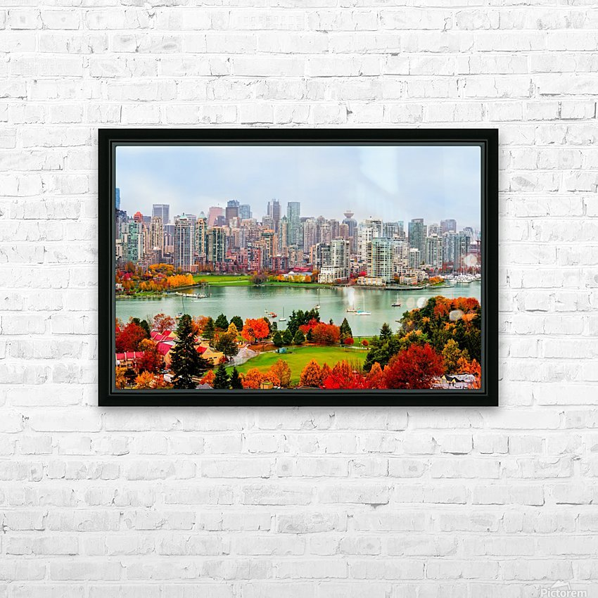 colorful autumn landscape of a modern city by the river HD Sublimation Metal print with Decorating Float Frame (BOX)