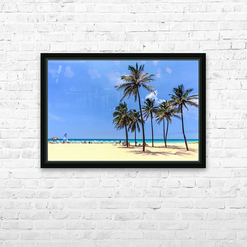 vacation on the beach on the hot Caribbean islands with green palms, yellow sand, blue sky HD Sublimation Metal print with Decorating Float Frame (BOX)