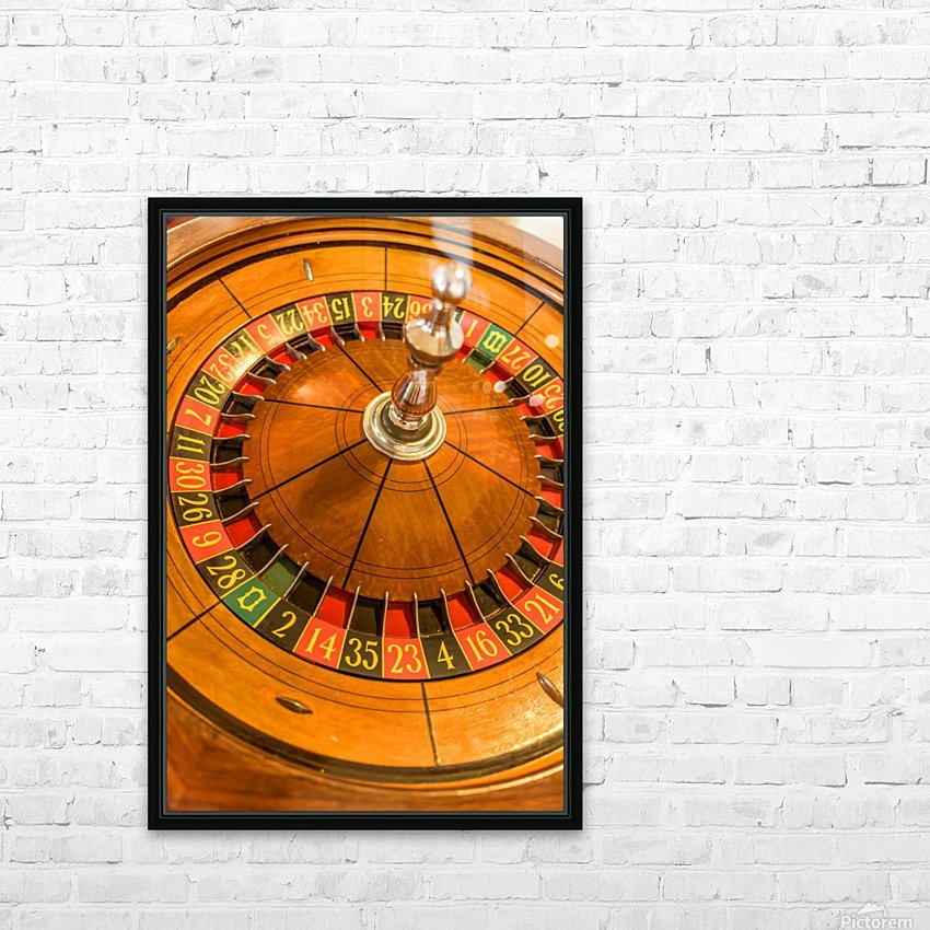 Round, wooden roulette wheel with numbers around the wheel HD Sublimation Metal print with Decorating Float Frame (BOX)