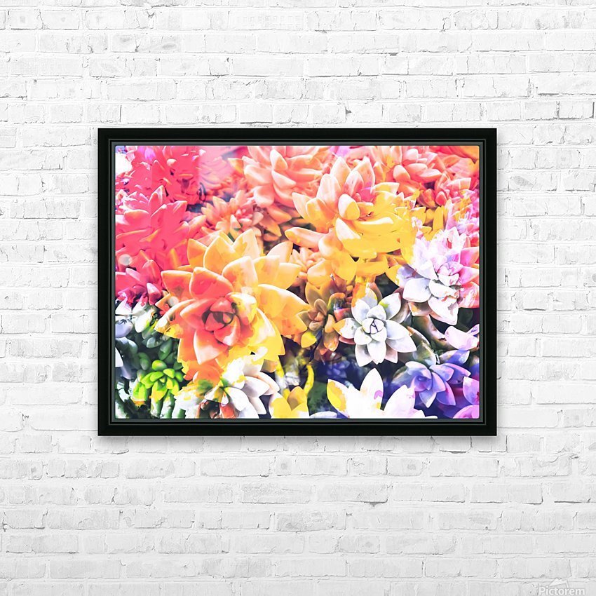 closeup of the succulents leaves texture with splash painting abstract HD Sublimation Metal print with Decorating Float Frame (BOX)