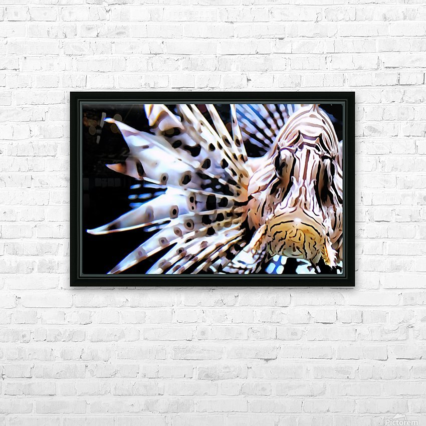 Lion Fish HD Sublimation Metal print with Decorating Float Frame (BOX)