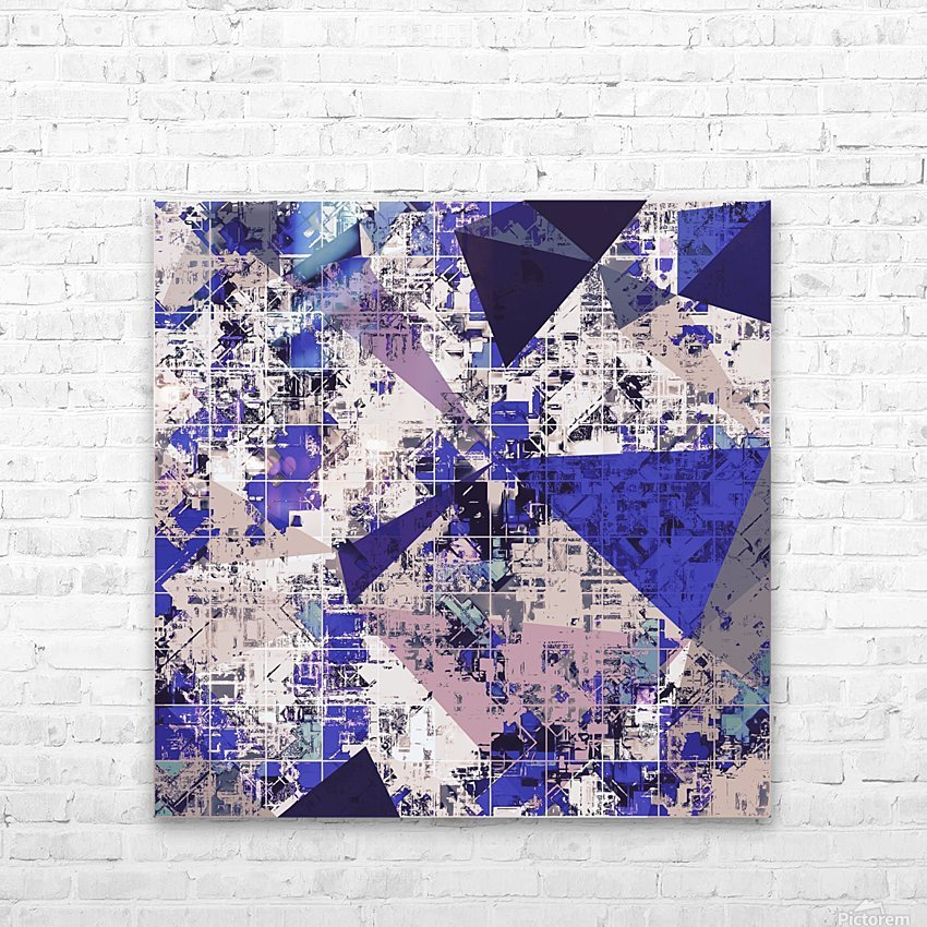 psychedelic geometric triangle polygon pattern abstract in blue and pink HD Sublimation Metal print with Decorating Float Frame (BOX)