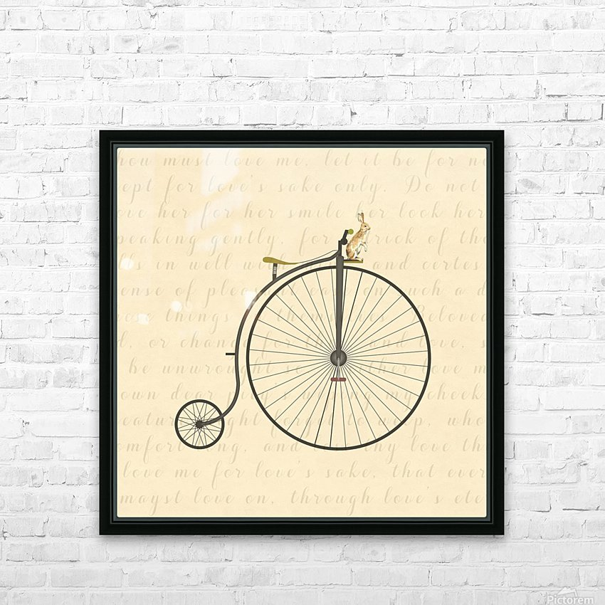 Vintage Penny Farthing Bunny HD Sublimation Metal print with Decorating Float Frame (BOX)