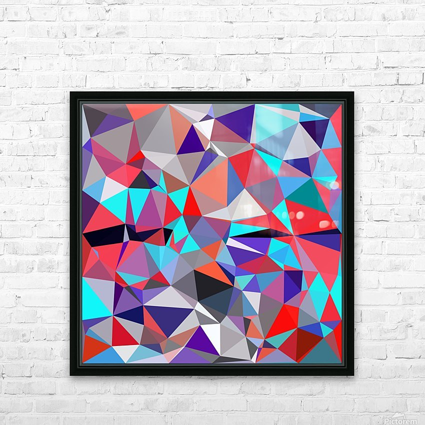 geometric triangle polygon pattern abstract background in red blue purple HD Sublimation Metal print with Decorating Float Frame (BOX)