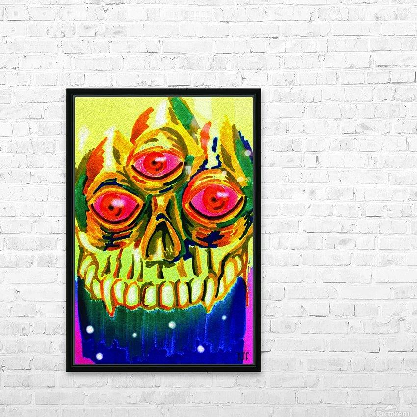 Three eyed skull painting HD sublimation métal imprimé avec décoration flotteur cadre (boîte)