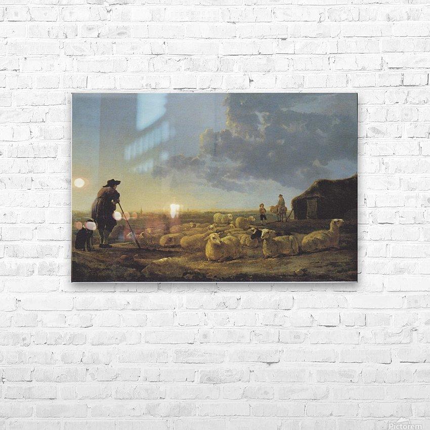 Schafherde auf der Weide HD Sublimation Metal print with Decorating Float Frame (BOX)