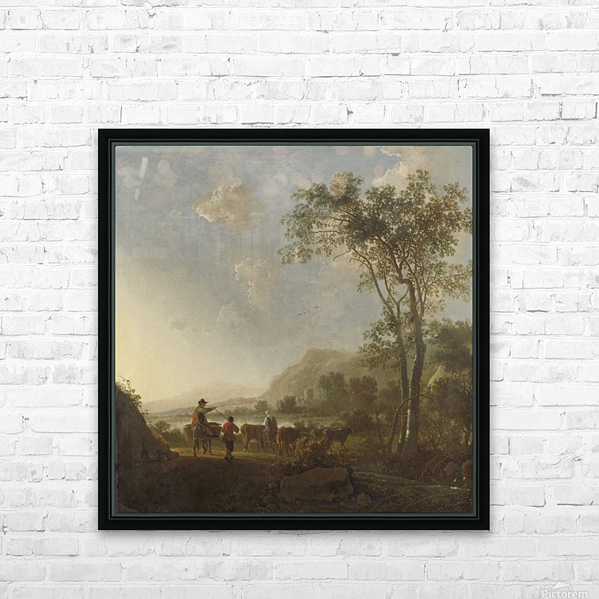 Landscape with herdsman and cattle HD Sublimation Metal print with Decorating Float Frame (BOX)