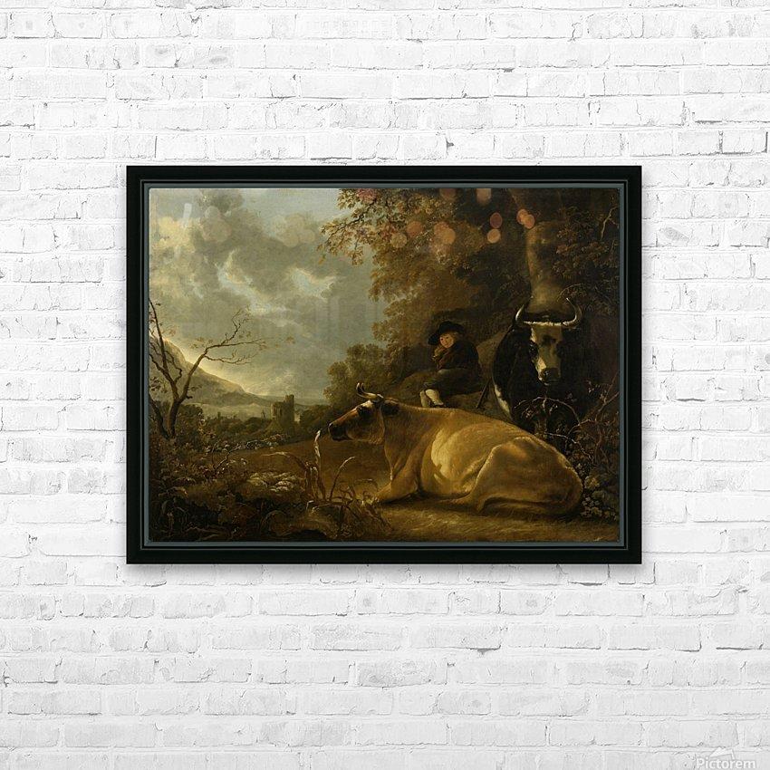 Landschap met koeien en herdersjongen HD Sublimation Metal print with Decorating Float Frame (BOX)