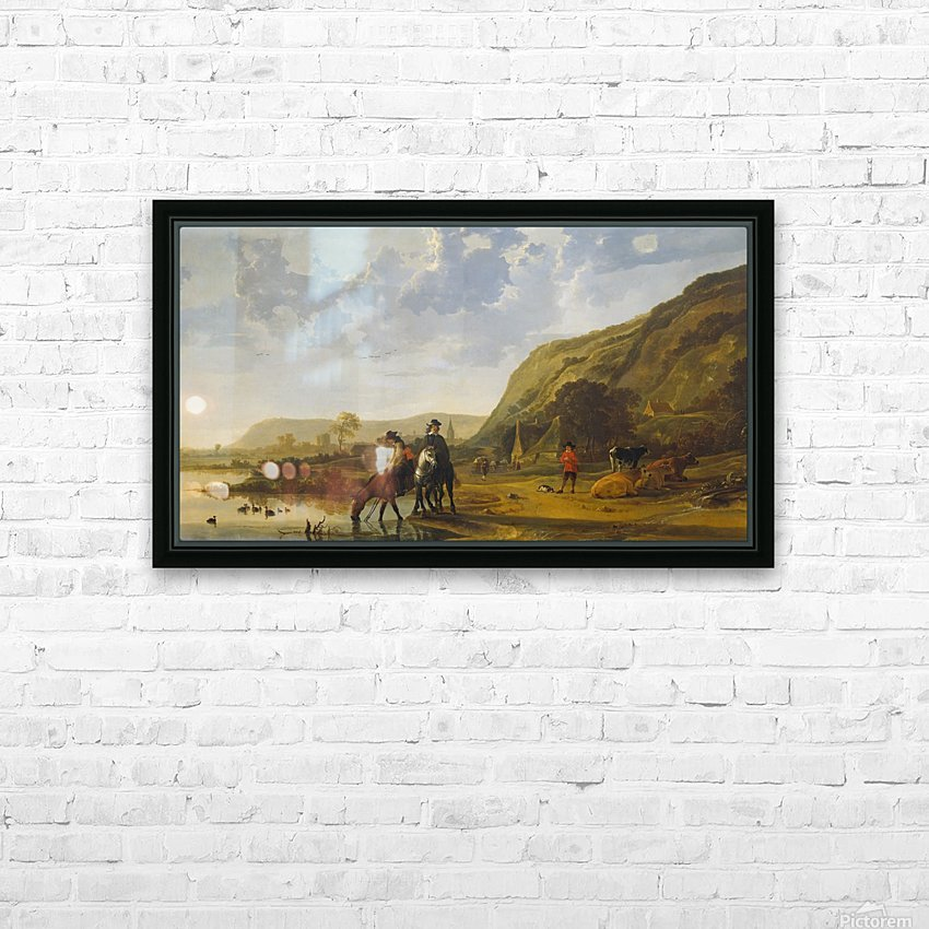 Rivierlandschap met ruiters HD Sublimation Metal print with Decorating Float Frame (BOX)