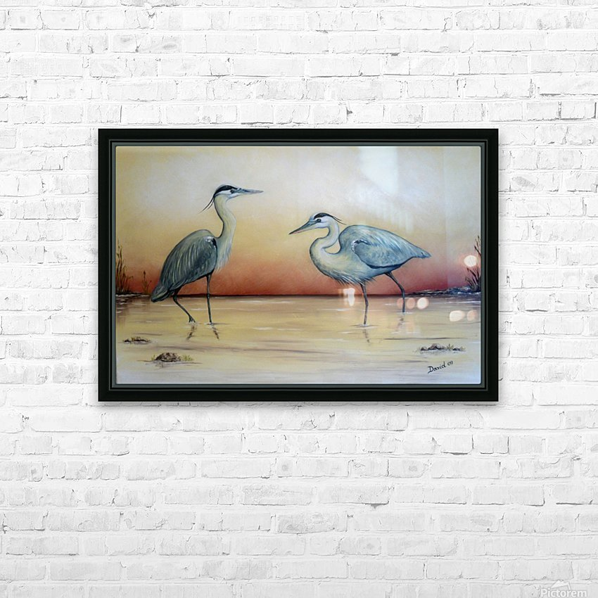 Blue Herons HD Sublimation Metal print with Decorating Float Frame (BOX)