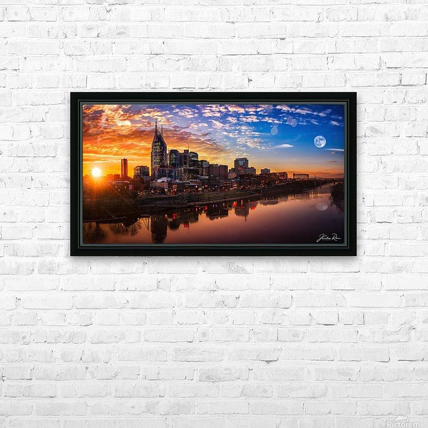 Nashville Skyline and sunset HD Sublimation Metal print with Decorating Float Frame (BOX)