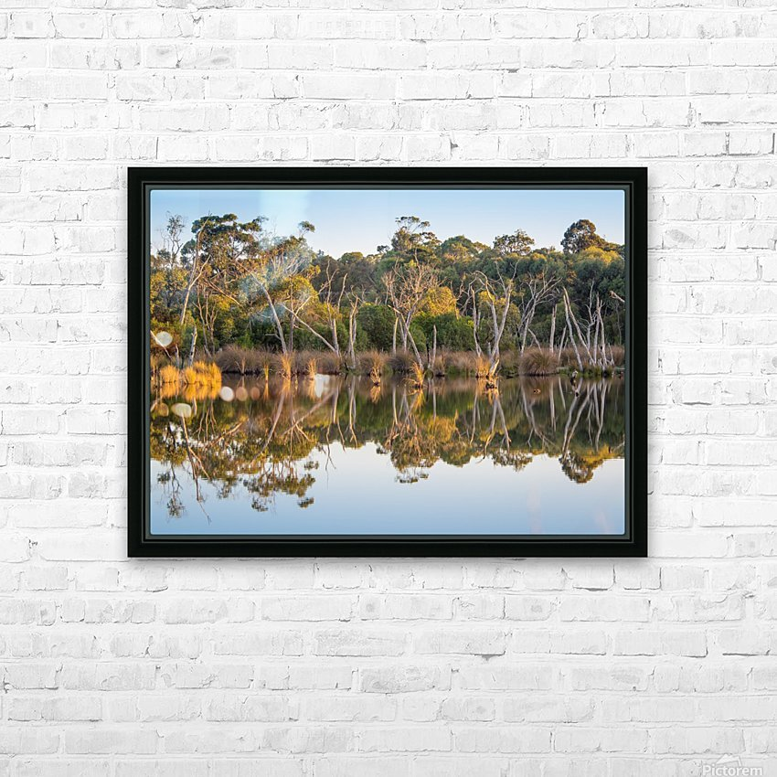 Evening river bank with glassy reflection HD Sublimation Metal print with Decorating Float Frame (BOX)