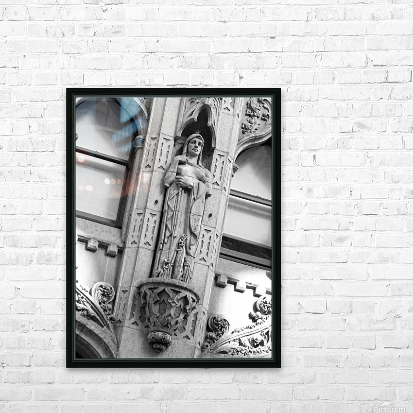 Caped Woman in Stone - B&W HD Sublimation Metal print with Decorating Float Frame (BOX)