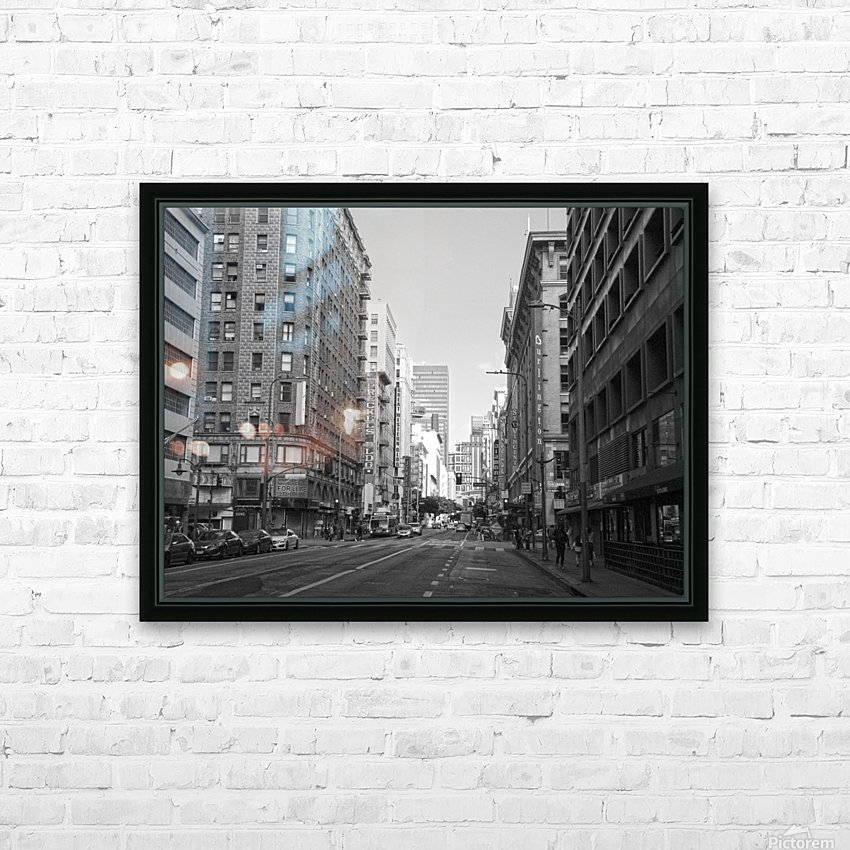 7th & Broadway DTLA - B&W HD Sublimation Metal print with Decorating Float Frame (BOX)