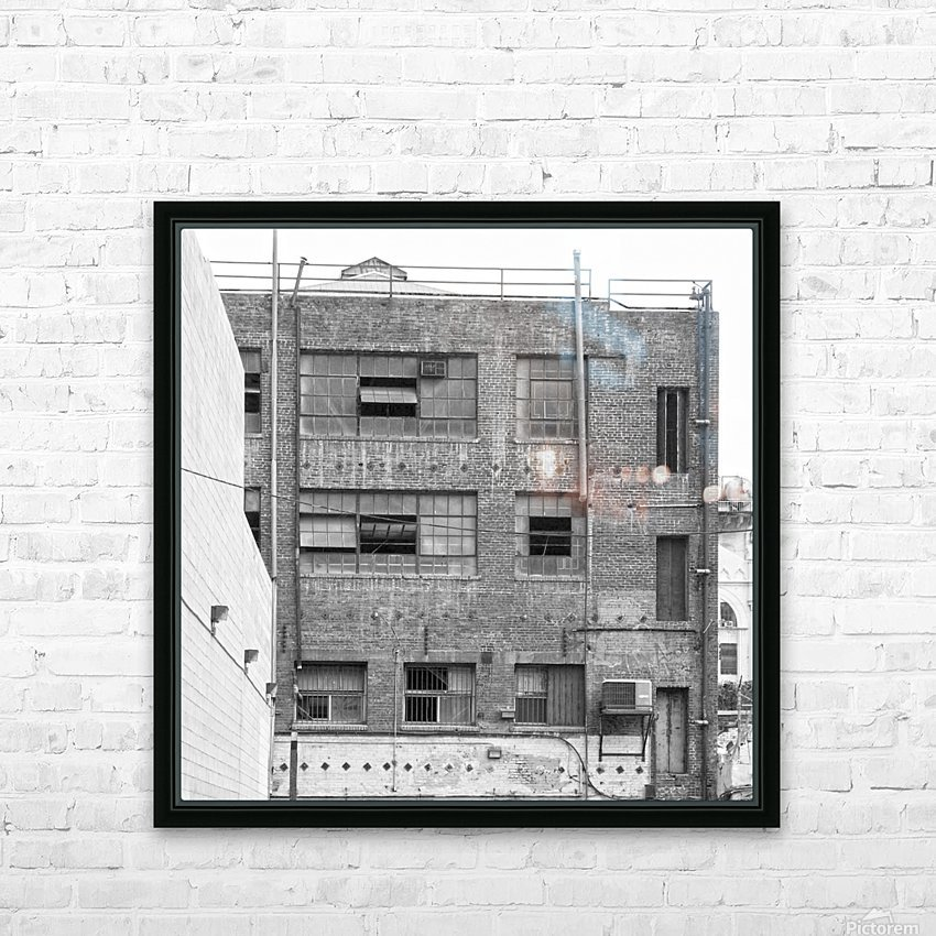 B&W Brick & Windows In Alley - DTLA  HD Sublimation Metal print with Decorating Float Frame (BOX)