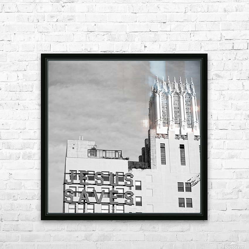B&W Jesus Saves Building - DTLA HD Sublimation Metal print with Decorating Float Frame (BOX)