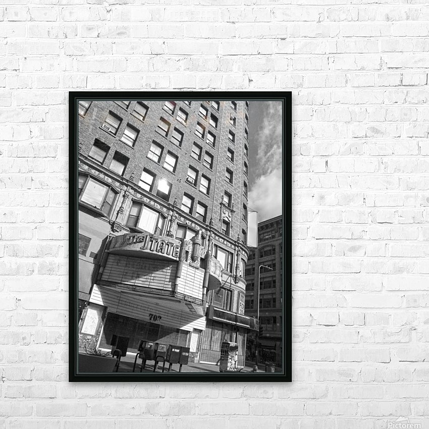 B&W The State Theatre - DTLA HD Sublimation Metal print with Decorating Float Frame (BOX)