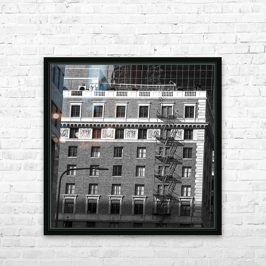 B&W Building Corner Figueroa and 6th Street HD Sublimation Metal print with Decorating Float Frame (BOX)