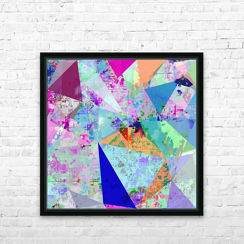 vintage psychedelic triangle polygon pattern abstract in blue pink green yellow HD Sublimation Metal print with Decorating Float Frame (BOX)