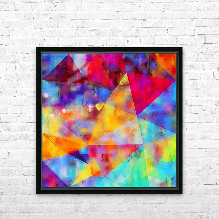 vintage psychedelic triangle polygon pattern abstract in orange yellow red blue purple HD Sublimation Metal print with Decorating Float Frame (BOX)