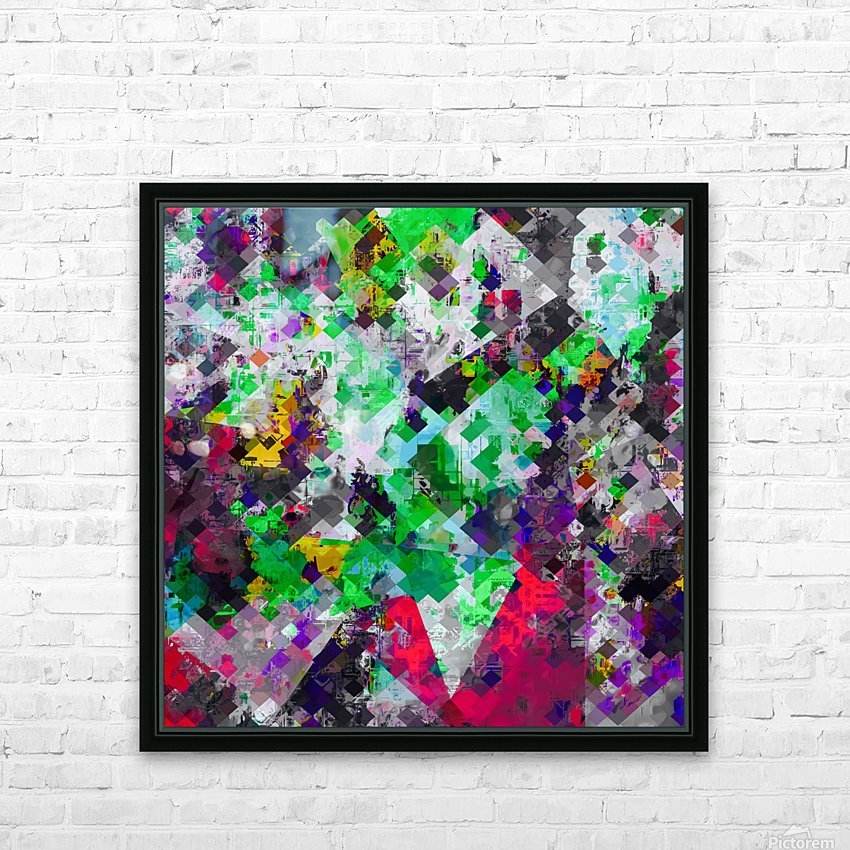 vintage psychedelic geometric square pixel pattern abstract in green red purple yellow HD Sublimation Metal print with Decorating Float Frame (BOX)