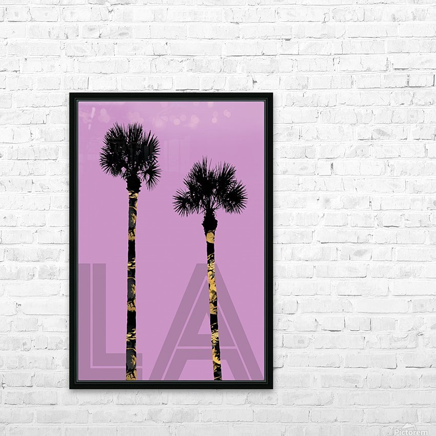 Graphic Art PALM TREES LA | pink HD Sublimation Metal print with Decorating Float Frame (BOX)