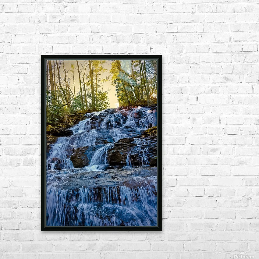 Waterfall in the Woods HD Sublimation Metal print with Decorating Float Frame (BOX)