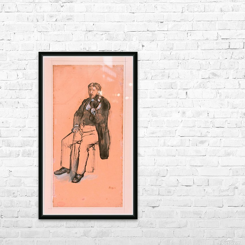 Seated Violin Player HD Sublimation Metal print with Decorating Float Frame (BOX)