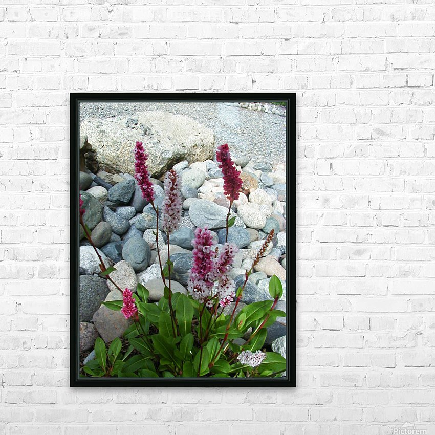 Red Flowers in Rocks HD Sublimation Metal print with Decorating Float Frame (BOX)