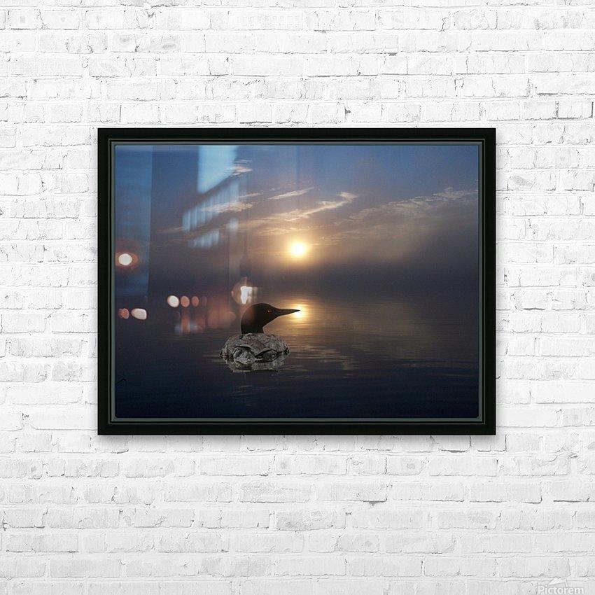 LoonAtSunrise_1527463927.19 HD sublimation métal imprimé avec décoration flotteur cadre (boîte)
