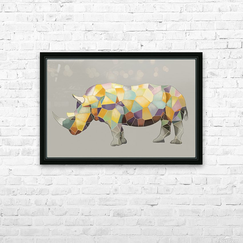 Rhino Mosaic HD Sublimation Metal print with Decorating Float Frame (BOX)
