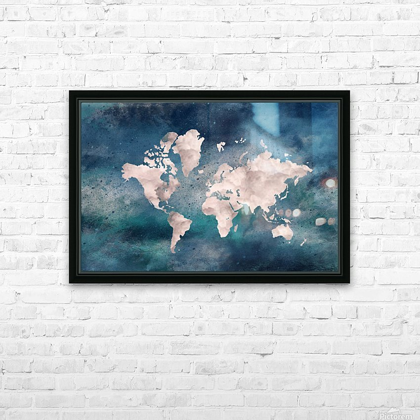 Map Green HD Sublimation Metal print with Decorating Float Frame (BOX)