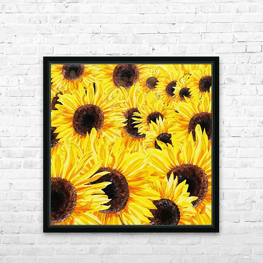Sunflowers Field Watercolor Painting by Irina Sztukowski HD Sublimation Metal print with Decorating Float Frame (BOX)