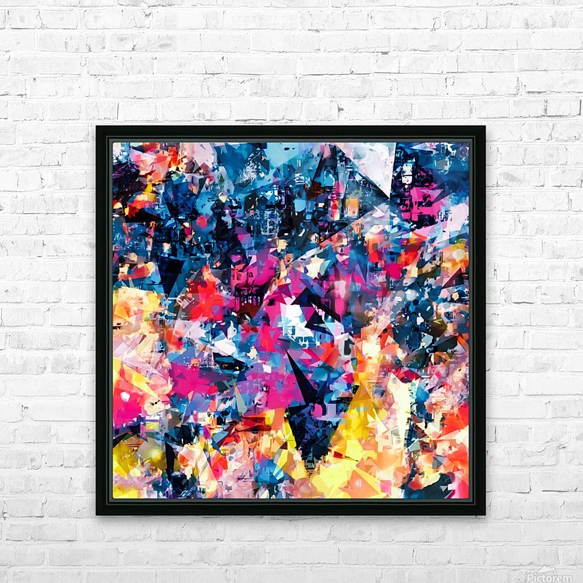 psychedelic geometric triangle pattern abstract in blue pink red yellow HD Sublimation Metal print with Decorating Float Frame (BOX)
