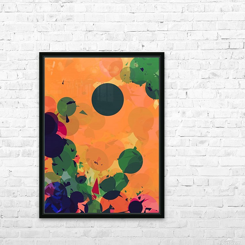 geometric circle and triangle pattern abstract in green orange red HD Sublimation Metal print with Decorating Float Frame (BOX)